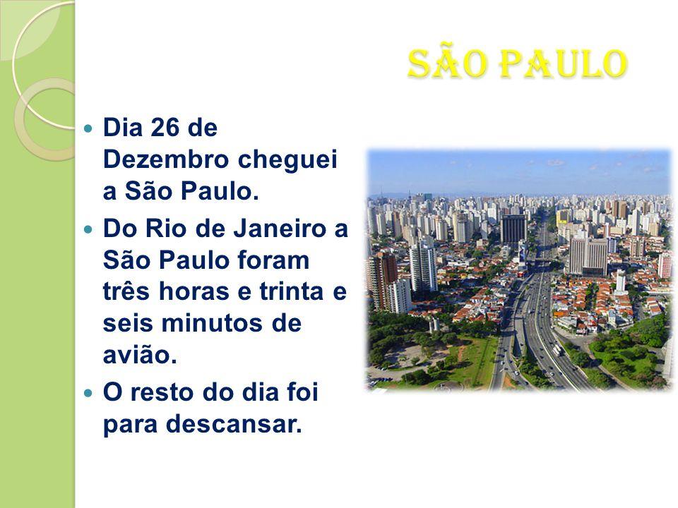 São Paulo Dia 26 de Dezembro cheguei a São Paulo.