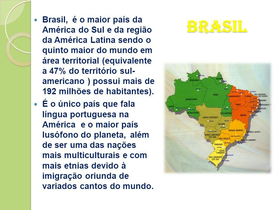 Brasil, é o maior país da América do Sul e da região da América Latina sendo o quinto maior do mundo em área territorial (equivalente a 47% do território sul- americano ) possui mais de 192 milhões de habitantes).