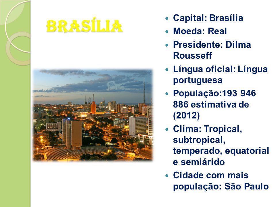 Brasília Capital: Brasília Moeda: Real Presidente: Dilma Rousseff