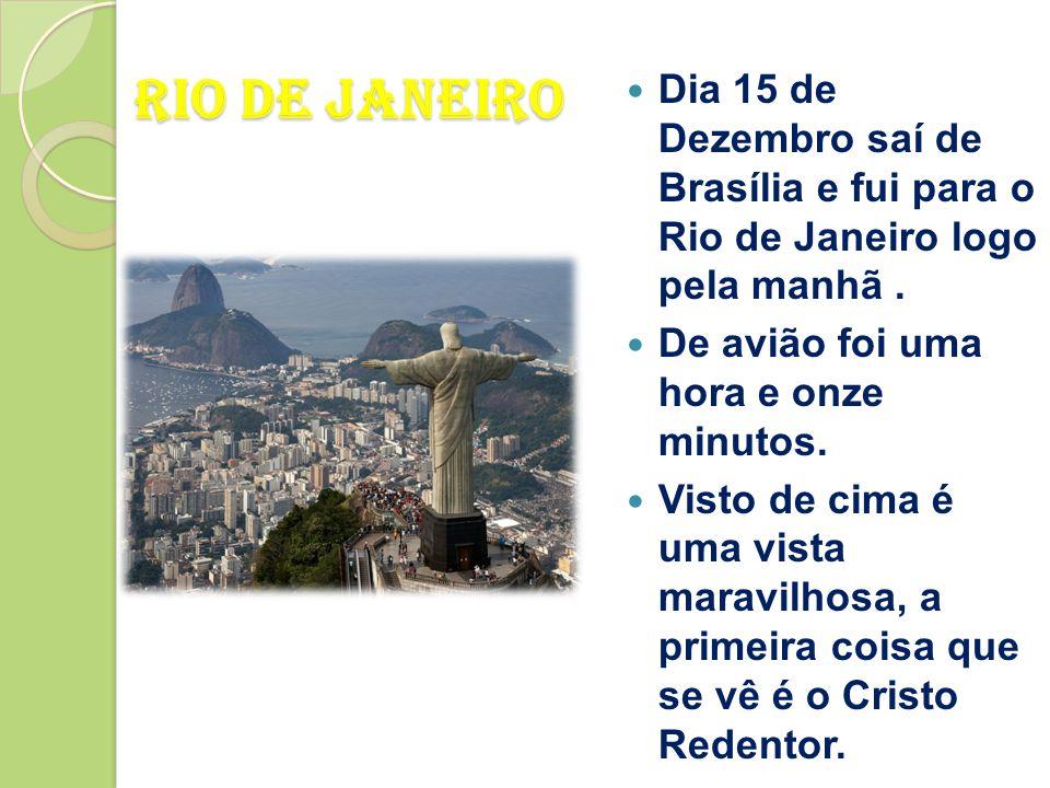 Dia 15 de Dezembro saí de Brasília e fui para o Rio de Janeiro logo pela manhã .