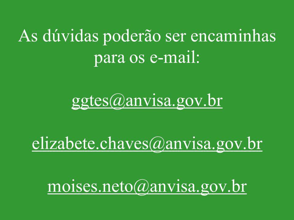 As dúvidas poderão ser encaminhas para os e-mail: ggtes@anvisa. gov
