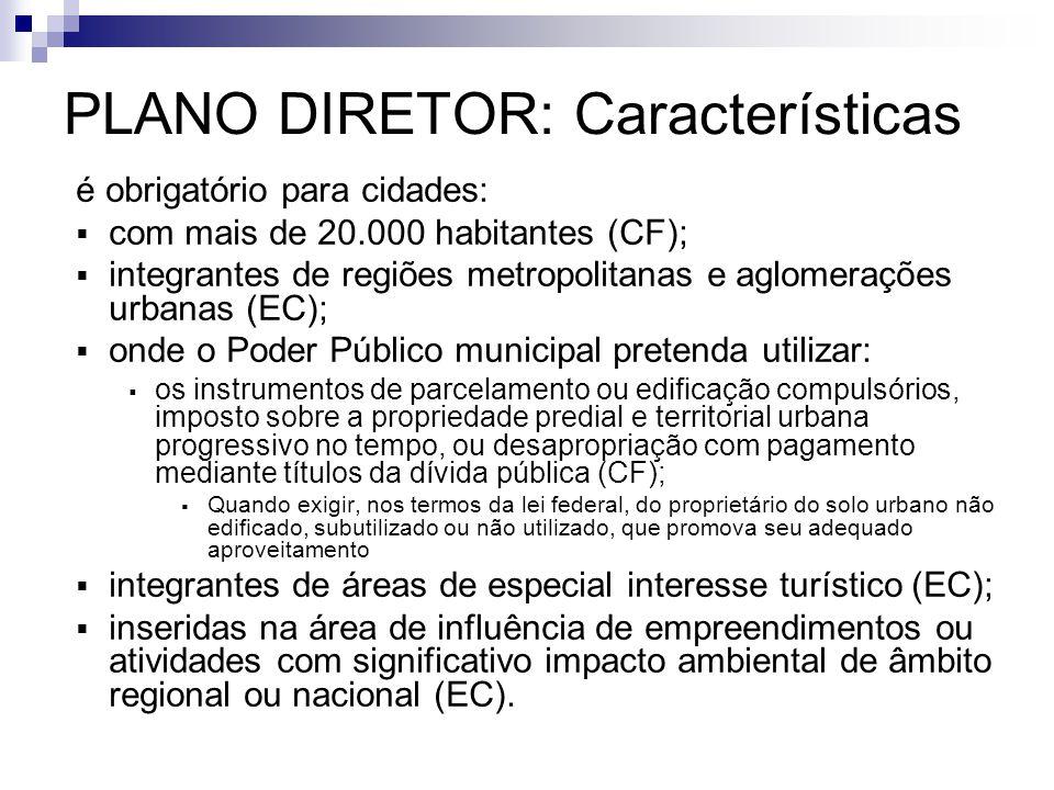 PLANO DIRETOR: Características