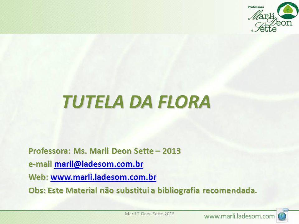 TUTELA DA FLORA Professora: Ms. Marli Deon Sette – 2013