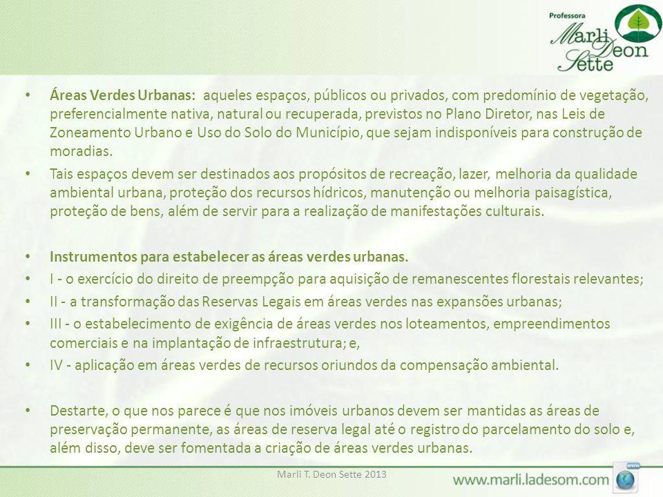 Instrumentos para estabelecer as áreas verdes urbanas.