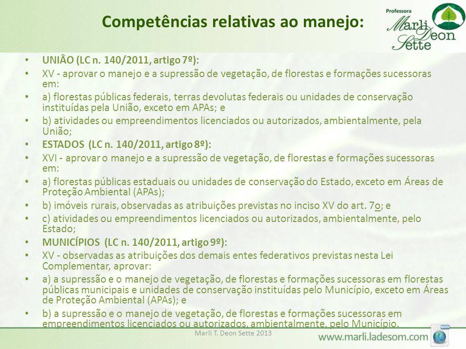 Competências relativas ao manejo: