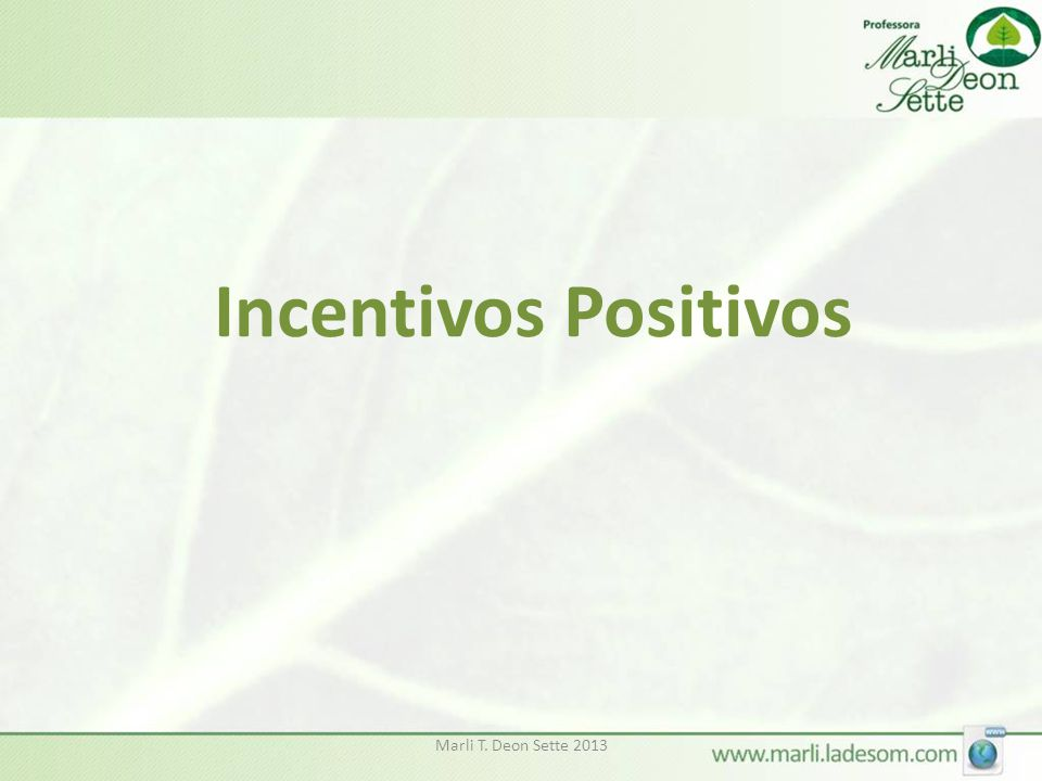 Incentivos Positivos Marli T. Deon Sette 2013