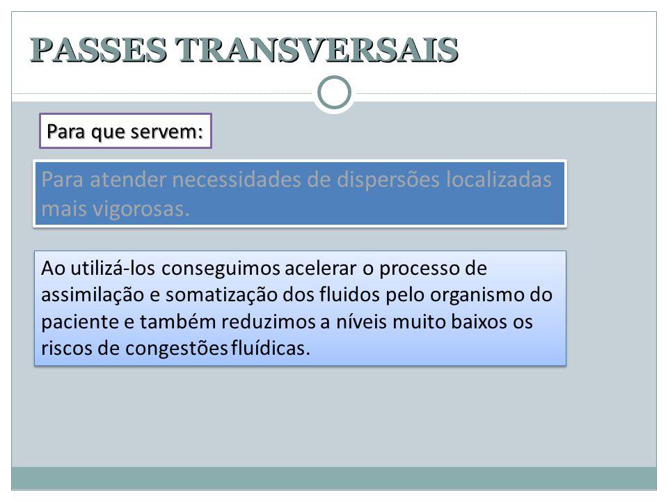 PASSES TRANSVERSAIS Para que servem: Para atender necessidades de dispersões localizadas mais vigorosas.