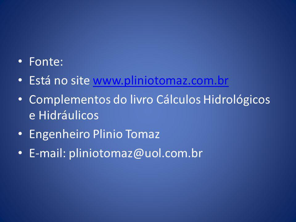 Fonte: Está no site www.pliniotomaz.com.br. Complementos do livro Cálculos Hidrológicos e Hidráulicos.