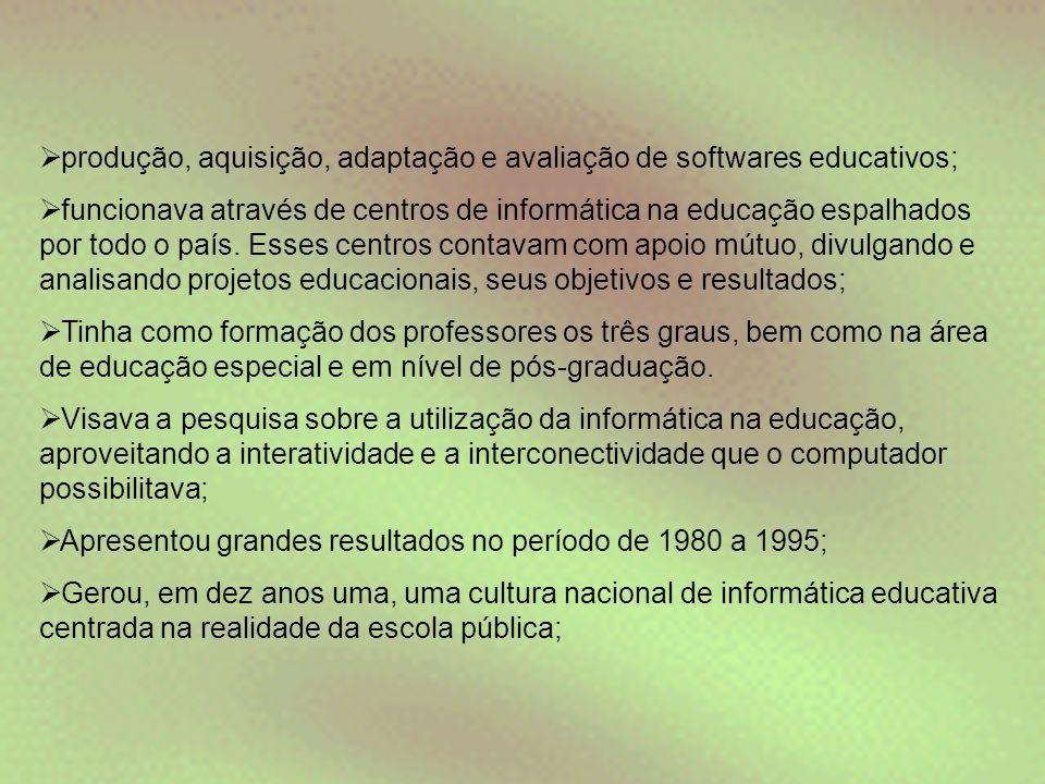 produção, aquisição, adaptação e avaliação de softwares educativos;