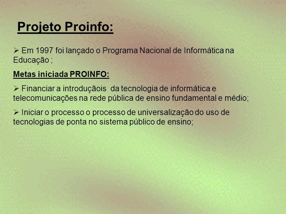 Projeto Proinfo: Em 1997 foi lançado o Programa Nacional de Informática na Educação ; Metas iniciada PROINFO: