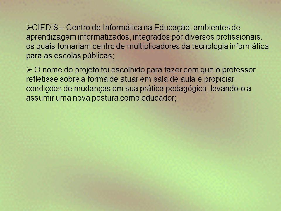 CIED'S – Centro de Informática na Educação, ambientes de aprendizagem informatizados, integrados por diversos profissionais, os quais tornariam centro de multiplicadores da tecnologia informática para as escolas públicas;