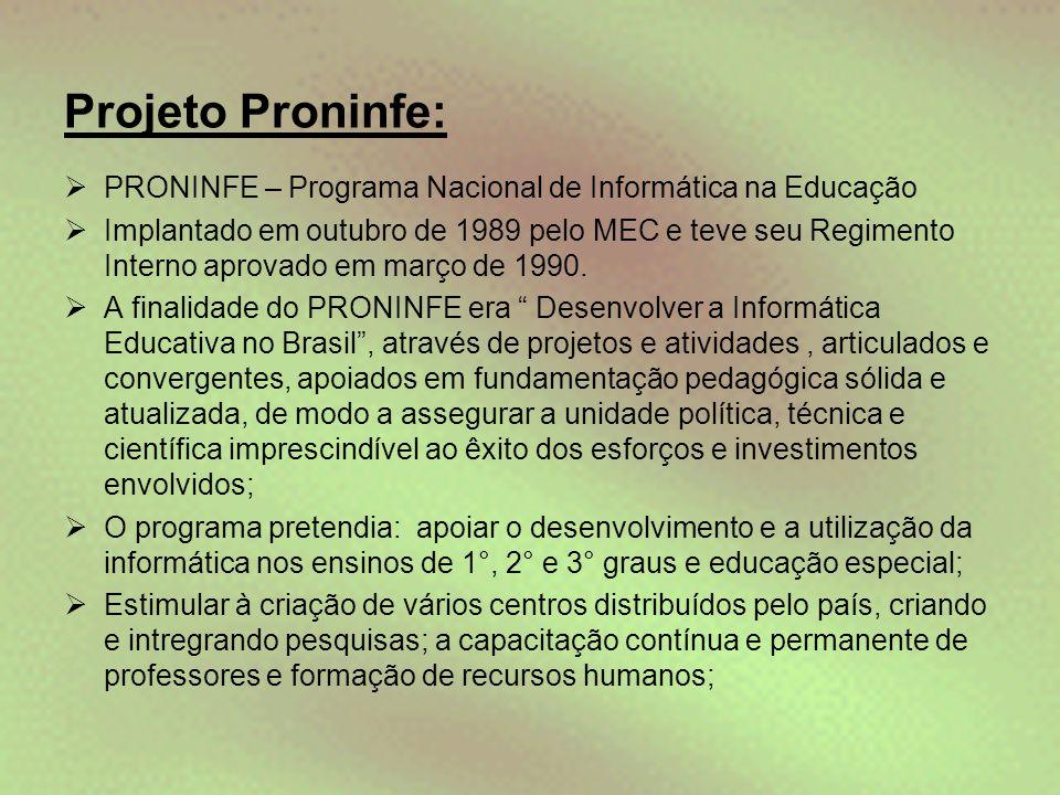 Projeto Proninfe: PRONINFE – Programa Nacional de Informática na Educação.
