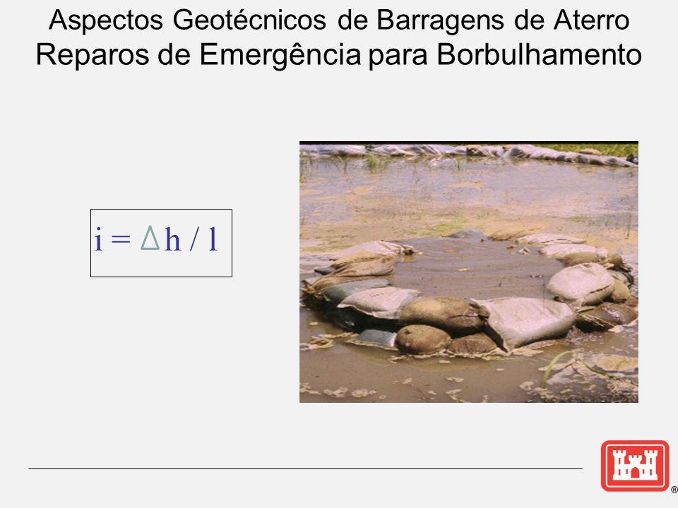 Aspectos Geotécnicos de Barragens de Aterro Reparos de Emergência para Borbulhamento