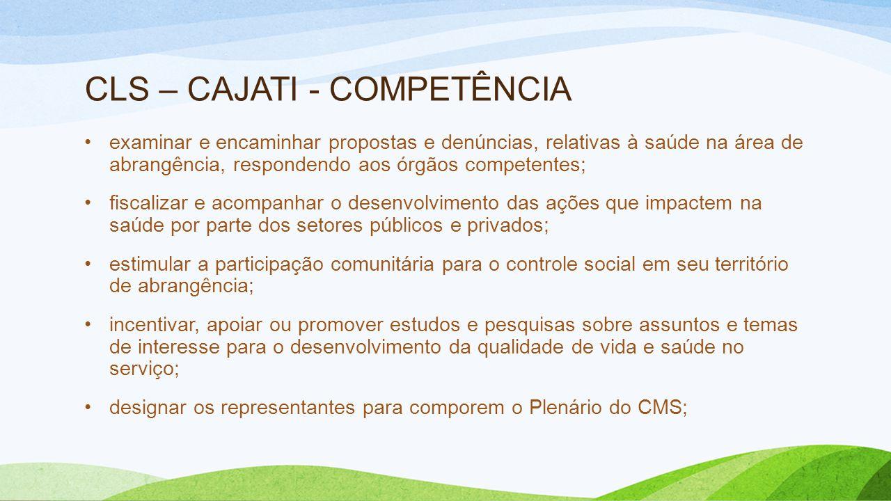 CLS – CAJATI - COMPETÊNCIA