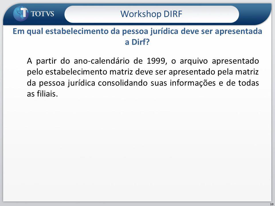 Workshop DIRF Em qual estabelecimento da pessoa jurídica deve ser apresentada a Dirf