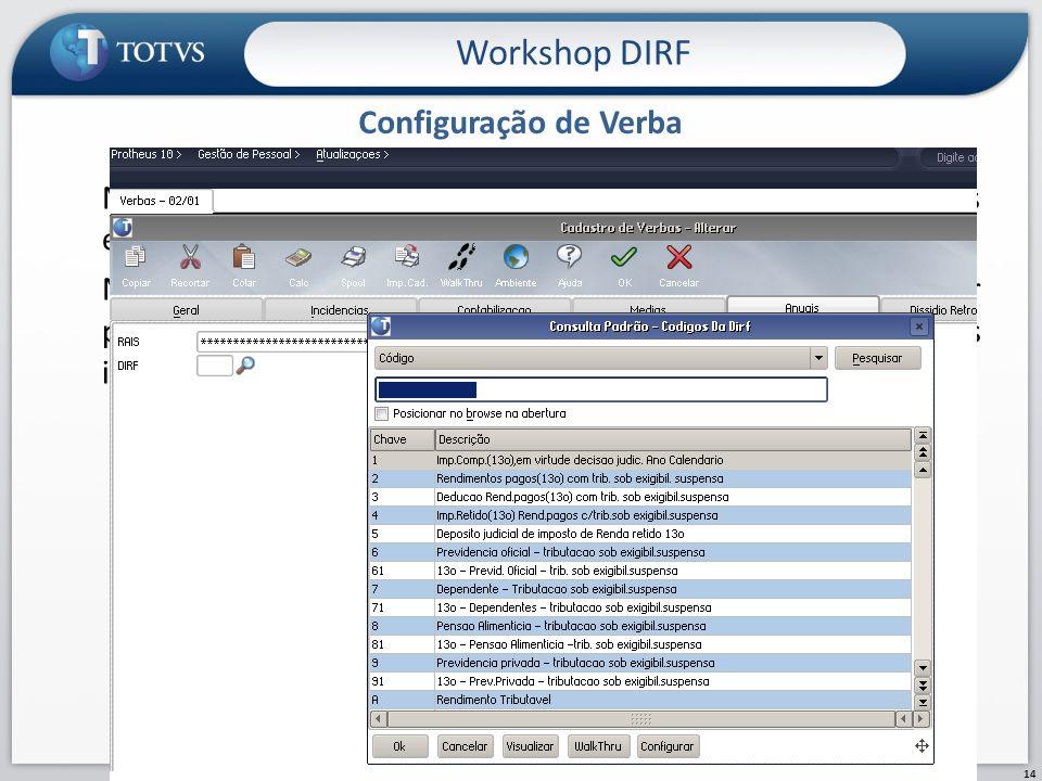 Workshop DIRF Configuração de Verba