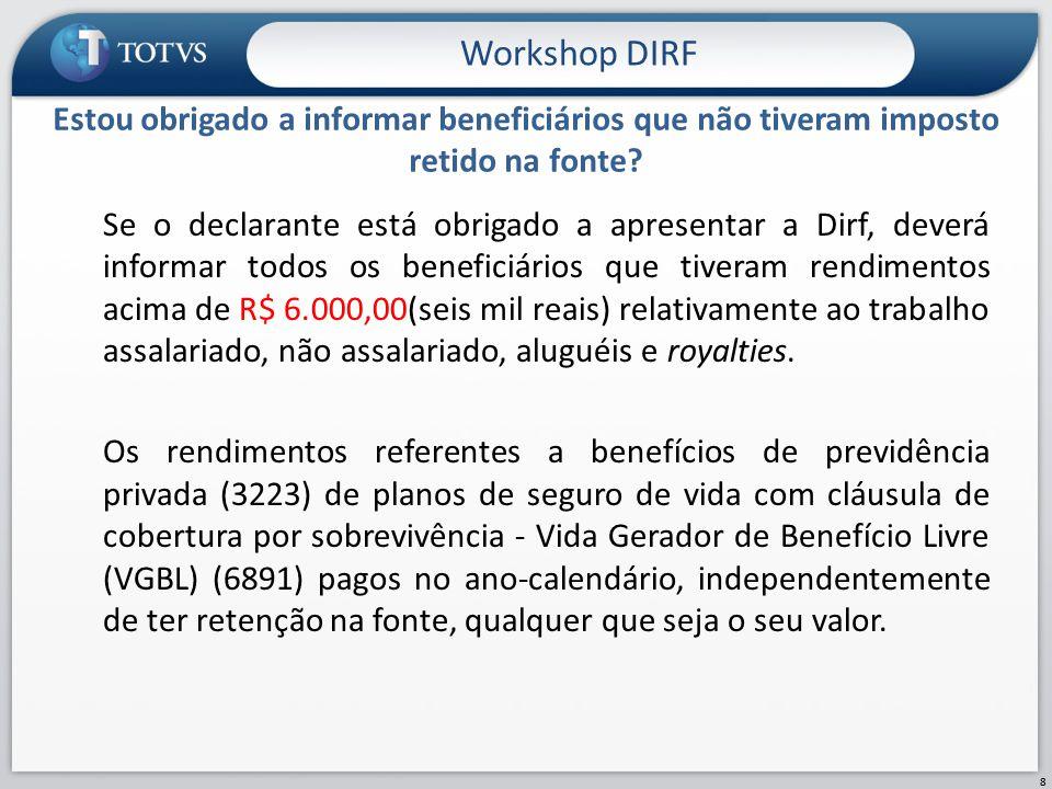 Workshop DIRF Estou obrigado a informar beneficiários que não tiveram imposto retido na fonte
