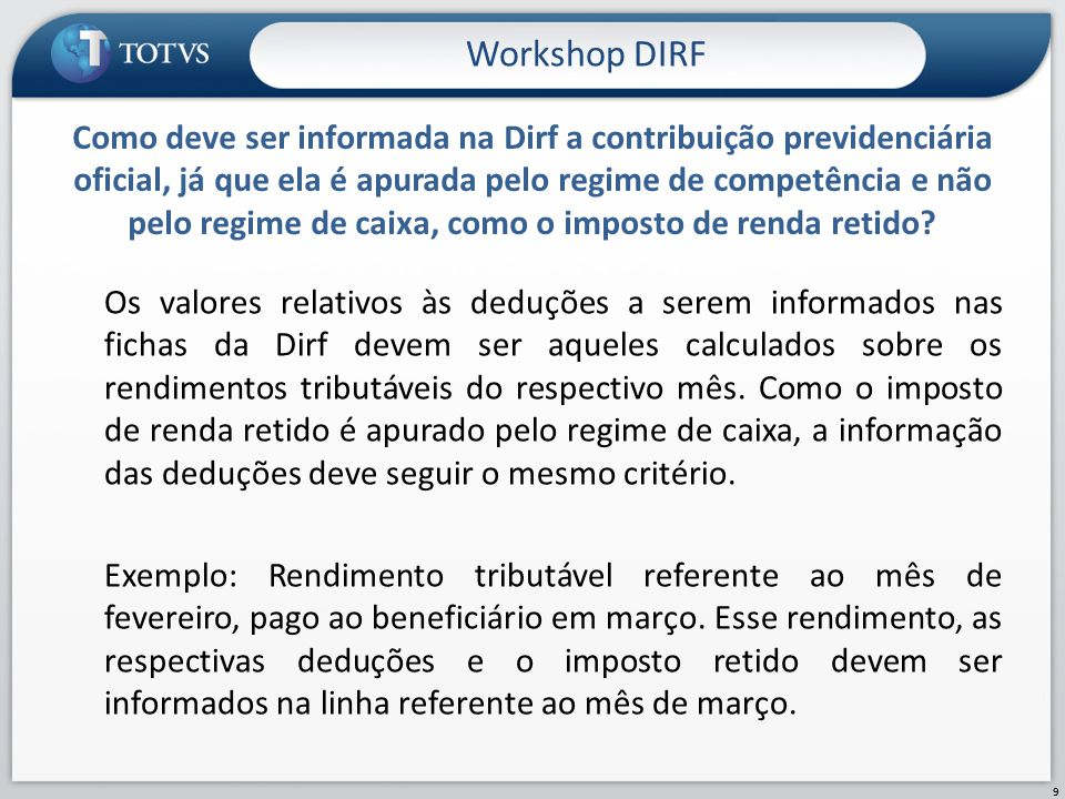 Workshop DIRF
