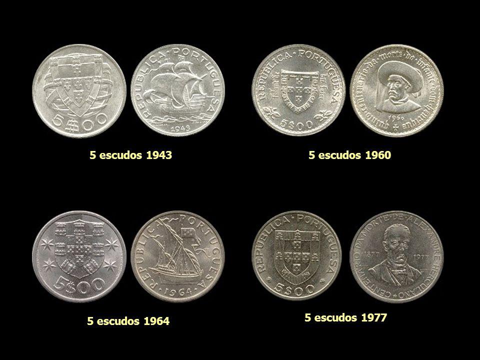 5 escudos 1943 5 escudos 1960 5 escudos 1977 5 escudos 1964