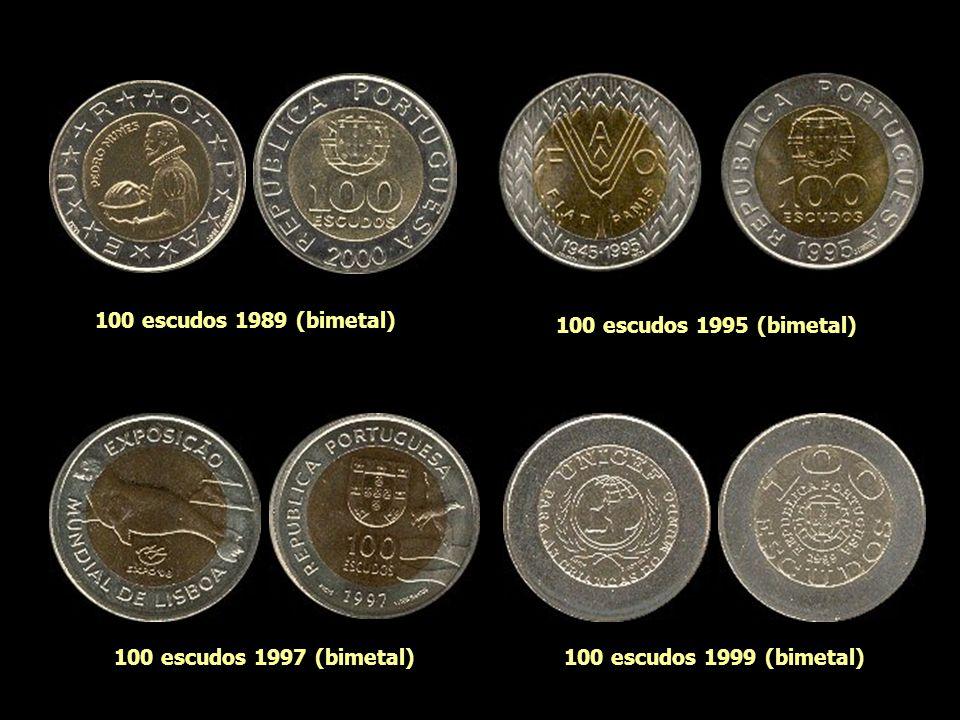 100 escudos 1989 (bimetal) 100 escudos 1995 (bimetal) 100 escudos 1997 (bimetal) 100 escudos 1999 (bimetal)