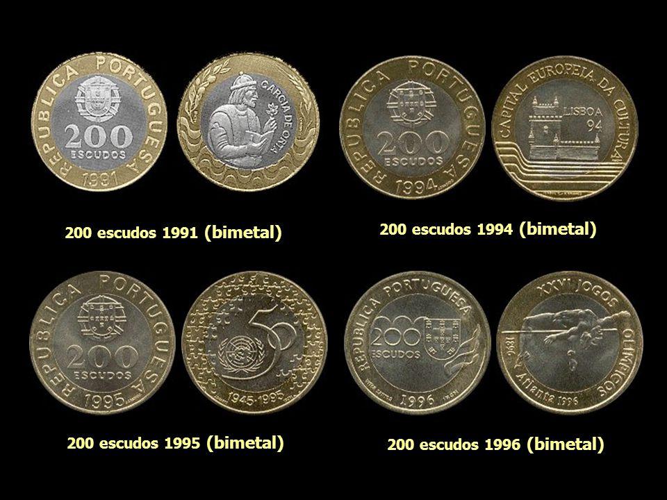 200 escudos 1991 (bimetal) 200 escudos 1994 (bimetal) 200 escudos 1995 (bimetal) 200 escudos 1996 (bimetal)
