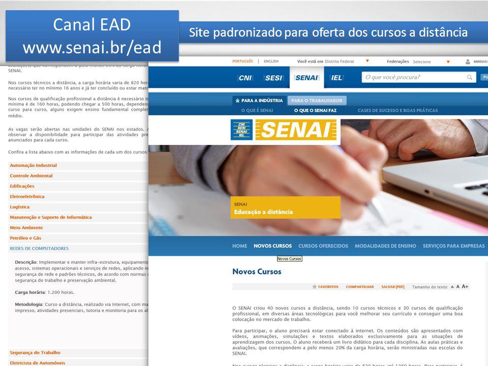 Site padronizado para oferta dos cursos a distância