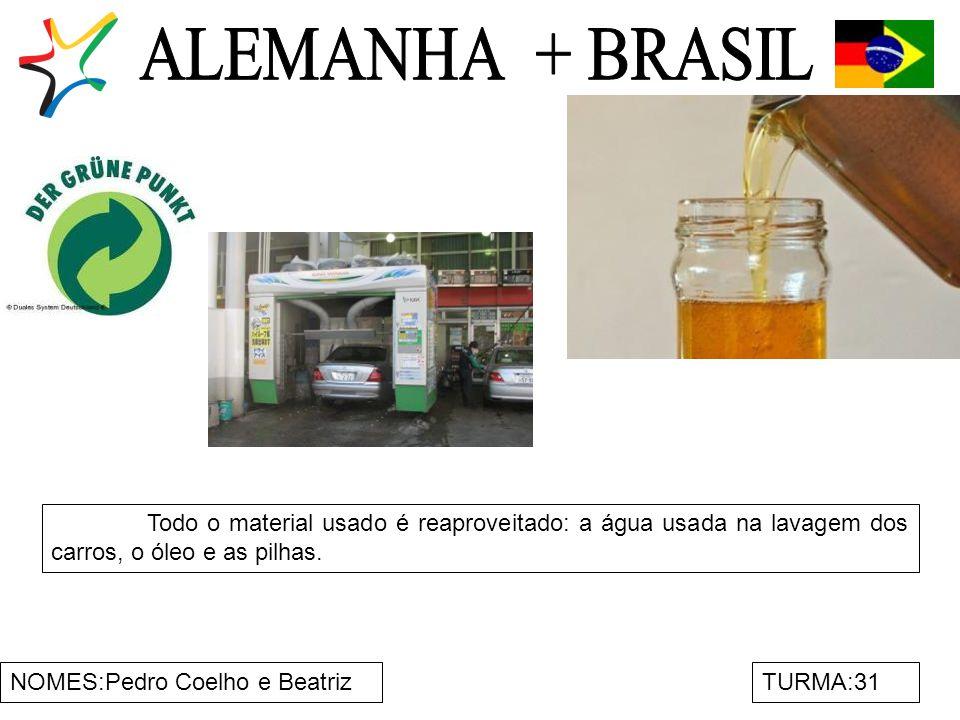 ALEMANHA + BRASIL Todo o material usado é reaproveitado: a água usada na lavagem dos carros, o óleo e as pilhas.