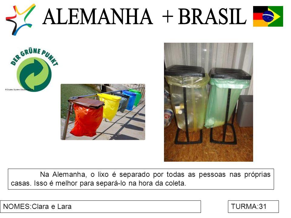 ALEMANHA + BRASIL Na Alemanha, o lixo é separado por todas as pessoas nas próprias casas. Isso é melhor para separá-lo na hora da coleta.