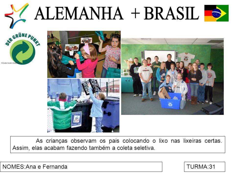 ALEMANHA + BRASIL As crianças observam os pais colocando o lixo nas lixeiras certas. Assim, elas acabam fazendo também a coleta seletiva.