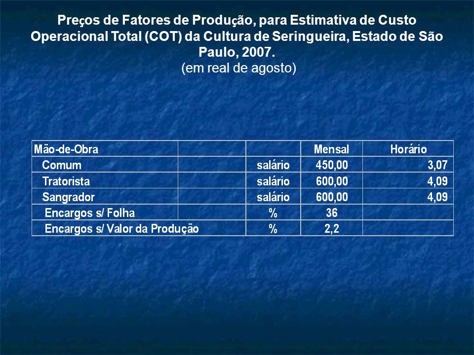 Preços de Fatores de Produção, para Estimativa de Custo Operacional Total (COT) da Cultura de Seringueira, Estado de São Paulo, 2007.