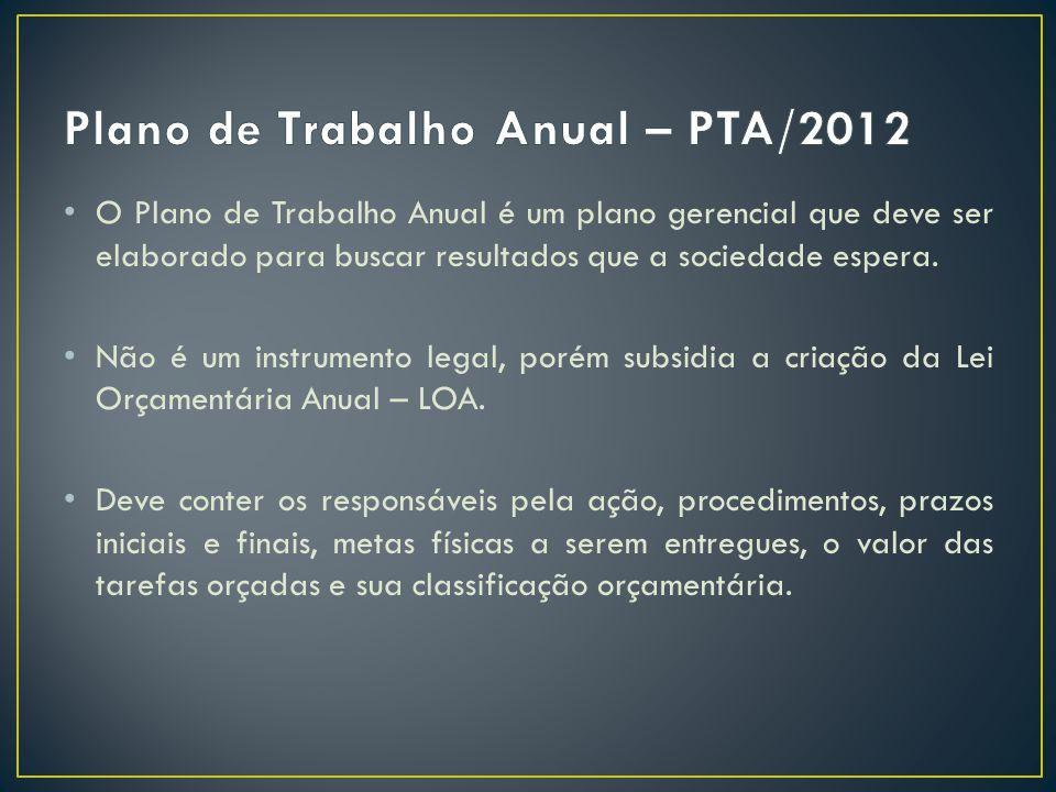 Plano de Trabalho Anual – PTA/2012