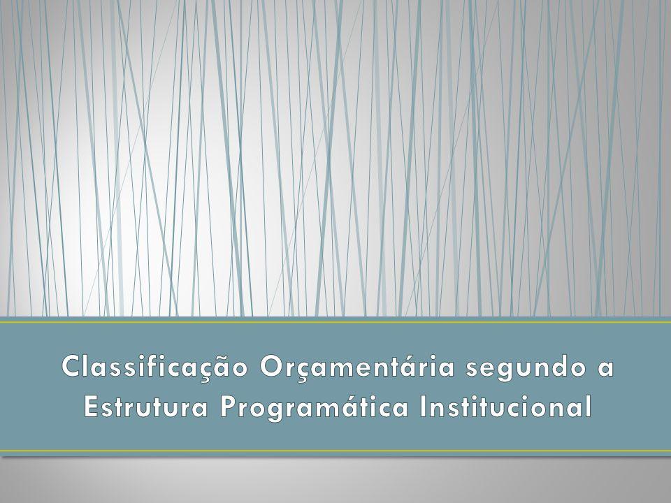 Classificação Orçamentária segundo a Estrutura Programática Institucional