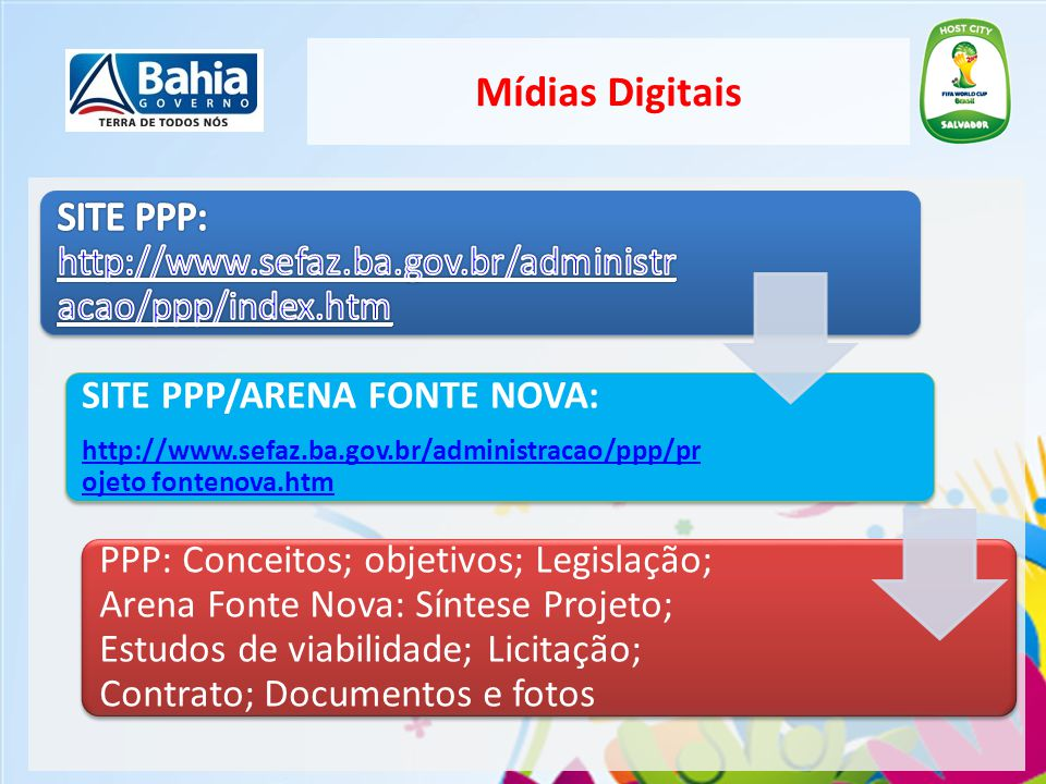 Mídias Digitais SITE PPP: http://www.sefaz.ba.gov.br/administracao/ppp/index.htm. SITE PPP/ARENA FONTE NOVA: