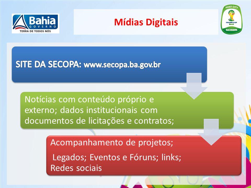 Mídias Digitais SITE DA SECOPA: www.secopa.ba.gov.br.