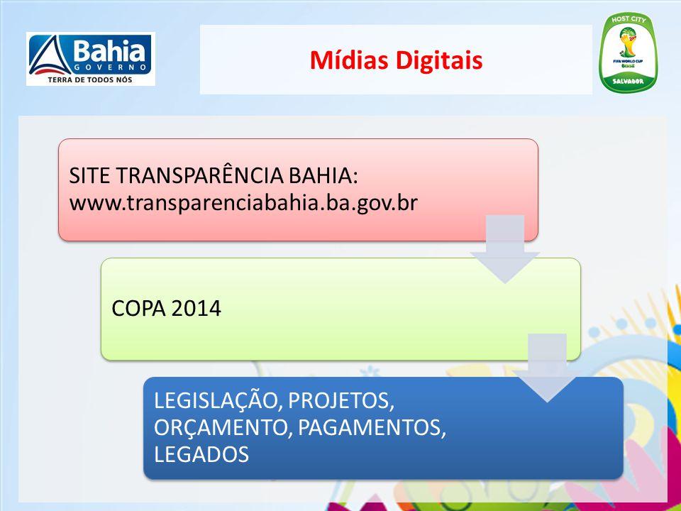 Mídias Digitais SITE TRANSPARÊNCIA BAHIA: www.transparenciabahia.ba.gov.br.