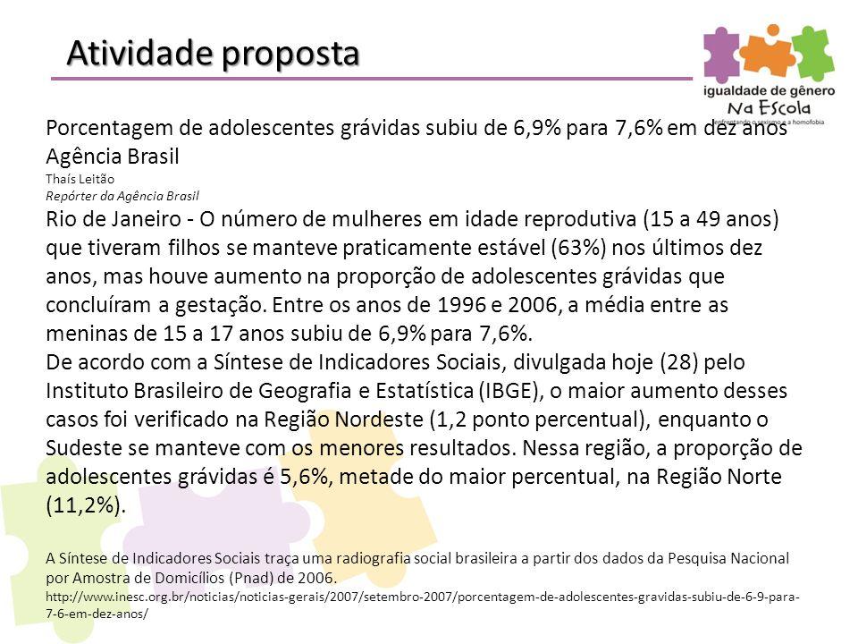 Atividade proposta Porcentagem de adolescentes grávidas subiu de 6,9% para 7,6% em dez anos. Agência Brasil.