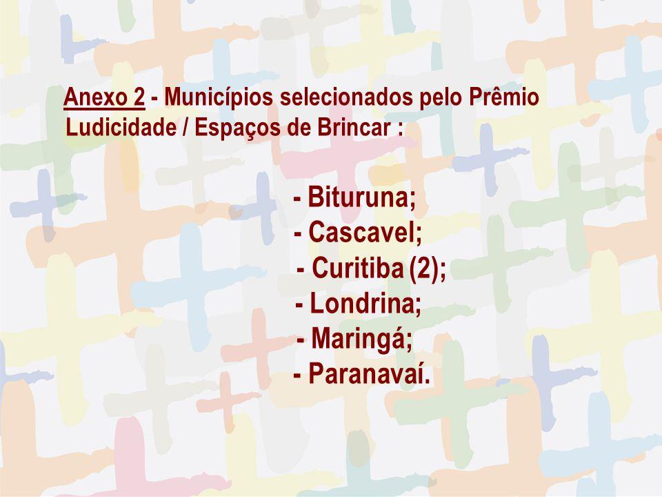 - Bituruna; - Cascavel; - Curitiba (2); - Londrina; - Maringá;