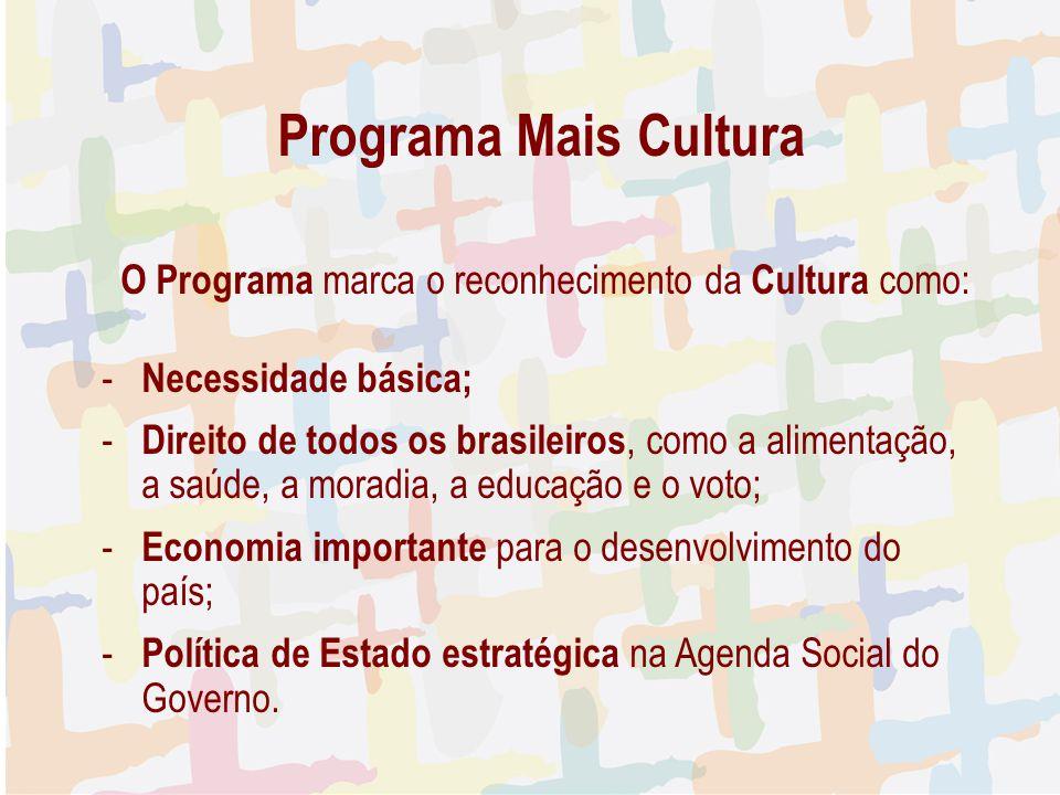 27/04/09 Programa Mais Cultura. O Programa marca o reconhecimento da Cultura como: Necessidade básica;
