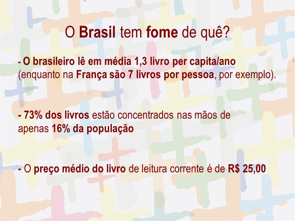 27/04/09 O Brasil tem fome de quê - O brasileiro lê em média 1,3 livro per capita/ano. (enquanto na França são 7 livros por pessoa, por exemplo).