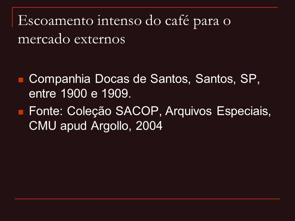 Escoamento intenso do café para o mercado externos