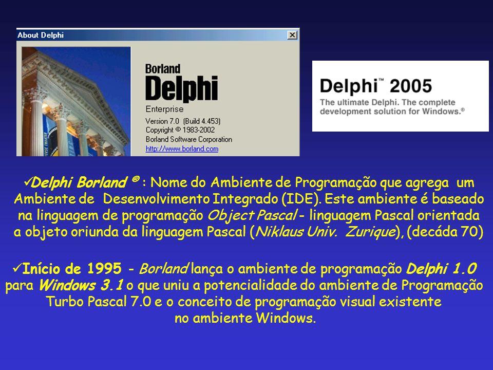 Início de 1995 - Borland lança o ambiente de programação Delphi 1.0