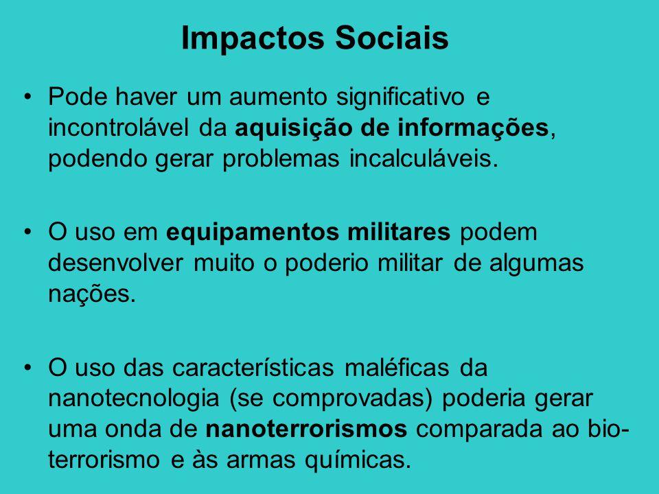 Impactos Sociais Pode haver um aumento significativo e incontrolável da aquisição de informações, podendo gerar problemas incalculáveis.