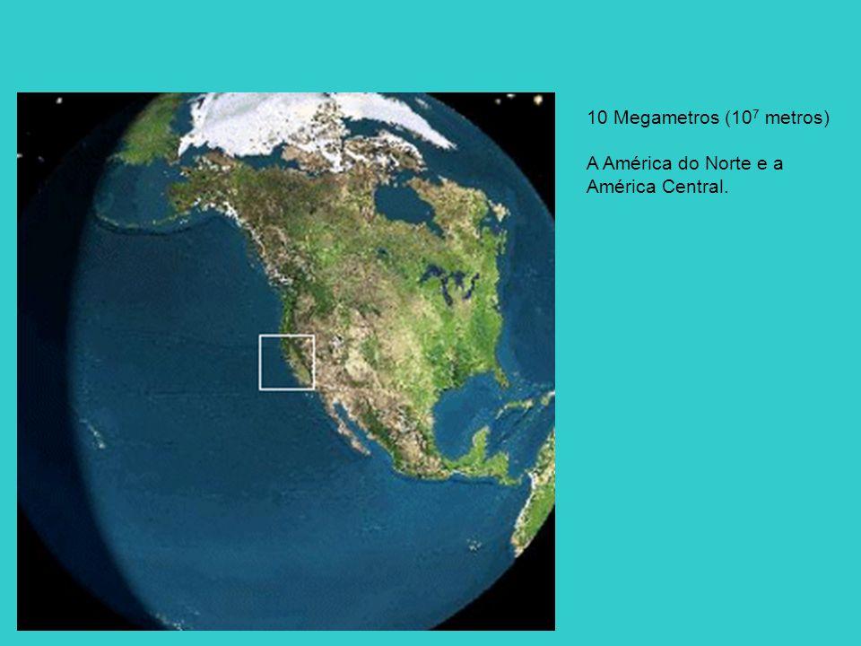10 Megametros (107 metros) A América do Norte e a América Central.