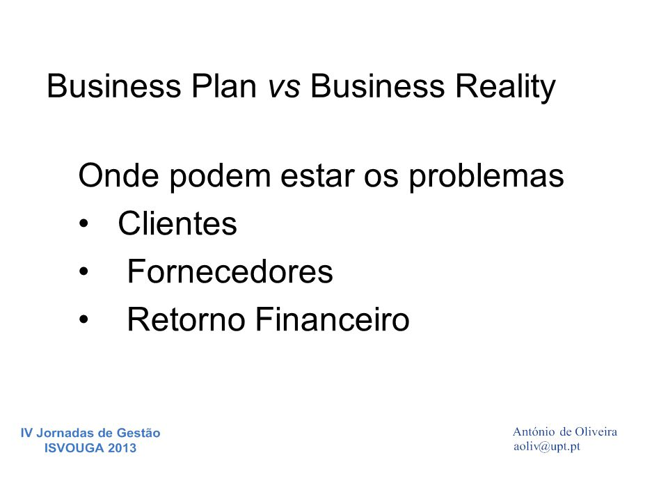 Business Plan vs Business Reality
