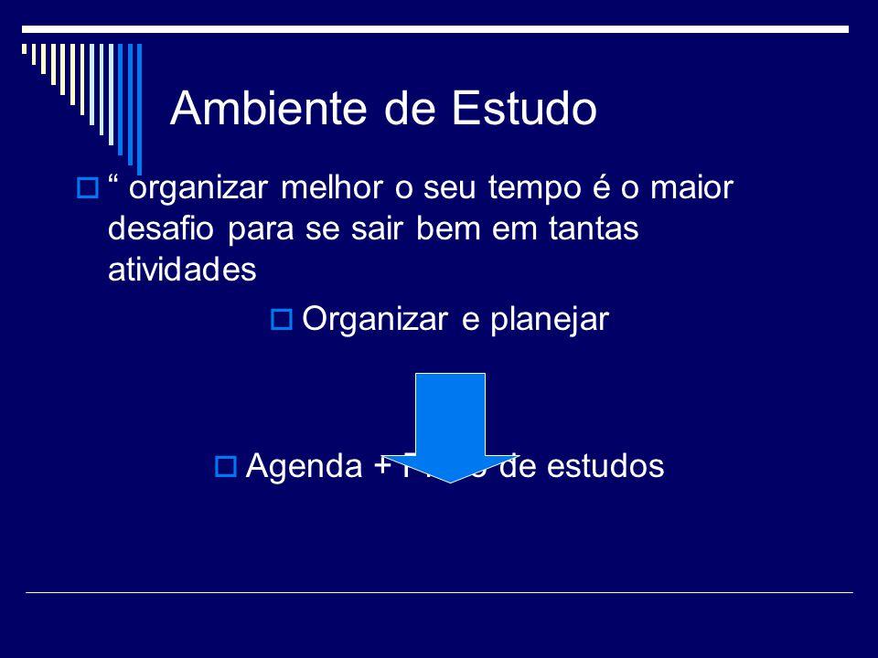 Agenda + Plano de estudos
