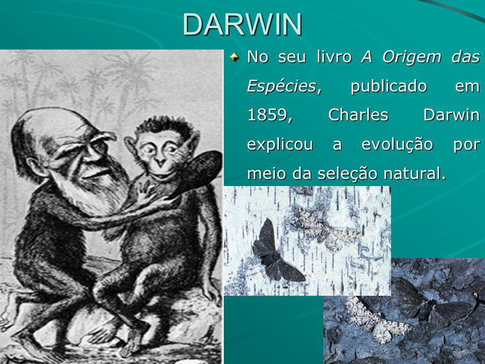 DARWIN No seu livro A Origem das Espécies, publicado em 1859, Charles Darwin explicou a evolução por meio da seleção natural.
