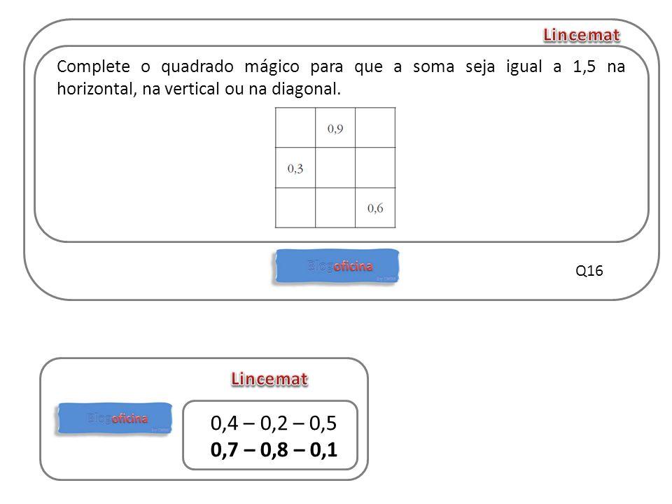 Lincemat Complete o quadrado mágico para que a soma seja igual a 1,5 na horizontal, na vertical ou na diagonal.