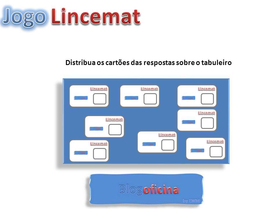 Jogo Lincemat Distribua os cartões das respostas sobre o tabuleiro