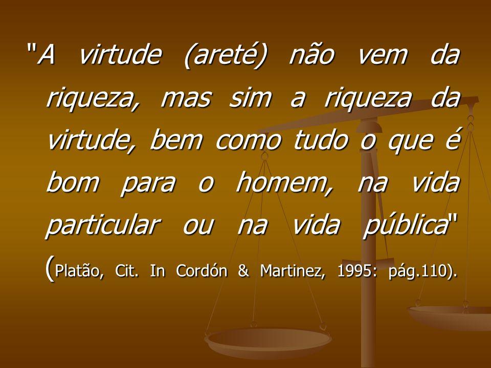 A virtude (areté) não vem da riqueza, mas sim a riqueza da virtude, bem como tudo o que é bom para o homem, na vida particular ou na vida pública (Platão, Cit.