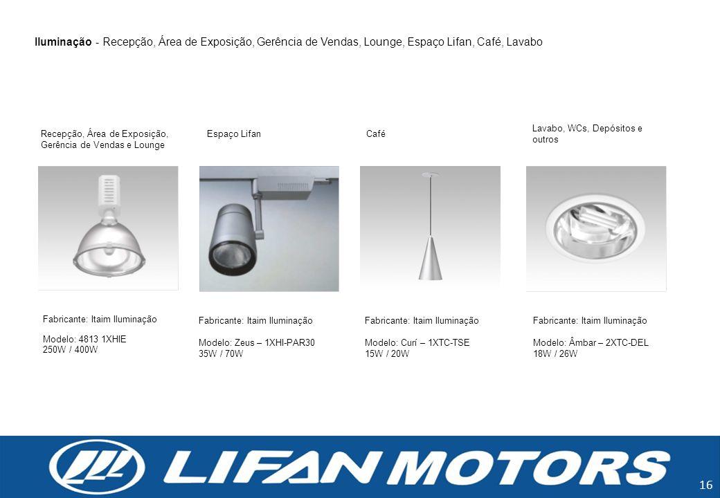 Iluminação - Recepção, Área de Exposição, Gerência de Vendas, Lounge, Espaço Lifan, Café, Lavabo